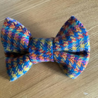 Blue ,Pink and Yellow Houndstooth Harris Tweed Dog Bow Tie
