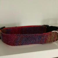 Harris Tweed Pink and Blue Large Check Medium size Dog Collar