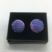 light blue and lilac Harris tweed cufflinks, fathersday gift ,gift for a man