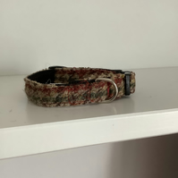 Green ,Brown and Fawn houndstooth  harris tweed dog collar
