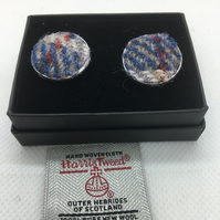 Blue check Harris tweed cufflinks, Father's Day gift ,
