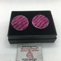 Pink and Burgandy Herringbone Harris tweed cufflinks, fathersday gift
