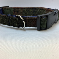 Harris Tweed Green and Brown check dog collar