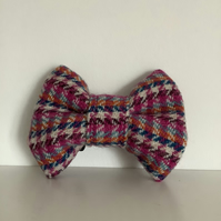 Pastel colours houndstouth  Harris Tweed Dog Bow Tie