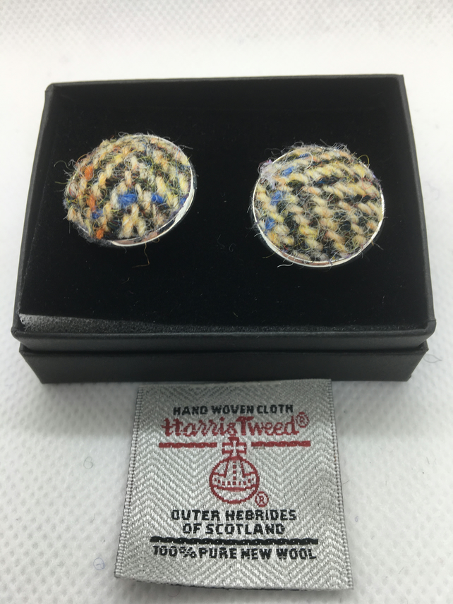 Brown and Fawn Herringbone Harris tweed cufflinks, Father's Day gift