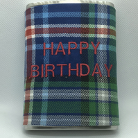 Blue ,Red and White and Green Tartan 8oz Hip flask