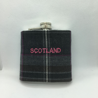 Grey Tartan Scotland  6 oz Hip flask