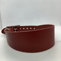 Red leather collar for greyhound or whippet