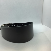 Grey leather collar for greyhound or whippet