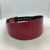 Coral pink leather collar for greyhound or whippet