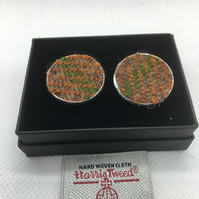 Brown ,Green and Fawn, Harris tweed cufflinks, fathersday gift