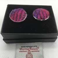 Pink and Lilac Harris tweed cufflinks, fathersday gift