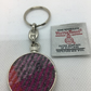 Pink , Grey and Lilac  Harris Tweed Metal keyring ,Keychain