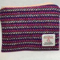Pink Herringbone stripe Harris Tweed coin purse ,Zip pouch
