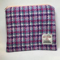 Pastel Pink Check Harris Tweed coin purse ,Zip pouch