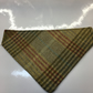 Slide on Dog Bandana Green Check Tweed With cotton reverse.