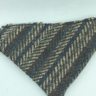 Reversable Harris Tweed over the collar dog bandana in brown and fawn