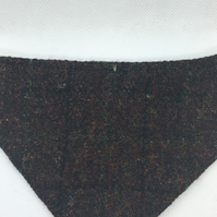 Brown Check Harris Tweed over the collar Dog Bandana  size S