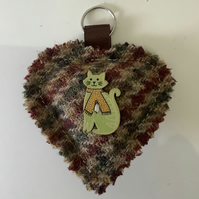 Harris Tweed Burgandy ,Green and Fawn Houndstouth keyring , Bag Charm
