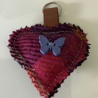 Attractive Harris Tweed Shades of pink and Lilac check keyring ,Bag Charm