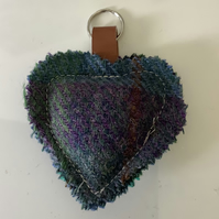 Harris Tweed Shades of blue and Purple check keyring