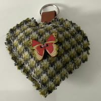 Tweed Shades of green and white check keyring