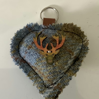 Harris Tweed Shades of Blue and Fawn check Keyring, Bag Charm