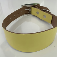 Yellow Leather Greyhound Collar