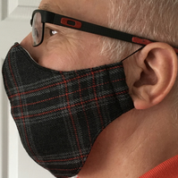 Face Mask Fine Grey Tartan, Face Covering, Reusable face mask, FREE P&P