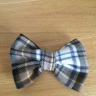 Brown ,Tan and White Tartan  dog or cat bowtie