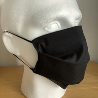 Black Cotton Face mask, Reusable fask mask, Washable face covering, Free P&P