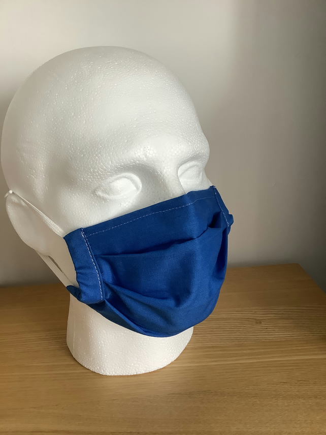 Face mask, Reusable fask mask, Washable face covering, Blue cotton face Mask,