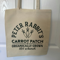 Peter Rabbit Carrot Patch,  cotton tote bag ,very strong but light