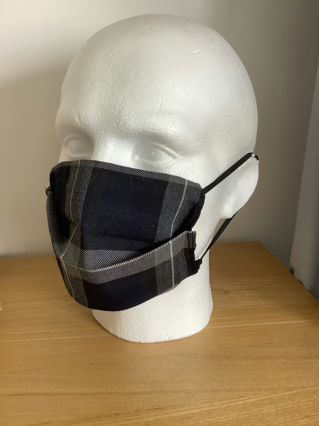 Blue ,Grey Tartan Face mask,Reusable fask mask ,Washable face covering,Free P&P