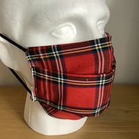 Red tartan  Face mask, Reusable face mask, Free P&P