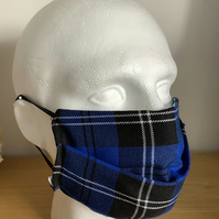 Blue tartan  Face mask, Reusable face mask, Free P&P