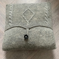 Grey Knitted Aran Cushion