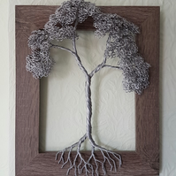 Wire Tree Sculpture, pretty framed 3D tree of Life wall art