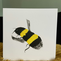 Bee Hand Painted Card