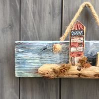 rustic driftwood upcycled wooden houses & lighthouse wall hanging plaque
