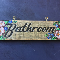"rustic driftwood upcycled wooden ""Bathroom""  wall hanging plaque sign"