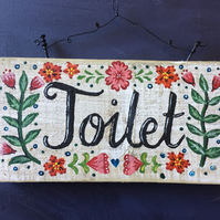 "rustic driftwood upcycled wooden ""Toilet""  wall hanging plaque sign"