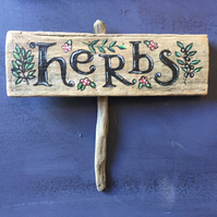 wooden Herb garden sign