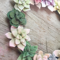 Felt table succulent wreath, wall hanging 18cm