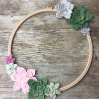 Felt table succulent embroidery hoop, wall hanging 30cm
