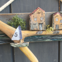 rustic driftwood upcycled wooden cottages with sailboat wall hanging plaque