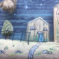 rustic driftwood upcycled 2 wooden houses on an island wall hanging plaque