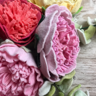 single of felt flower, peony, hand dyed, wool felt, 4 colours