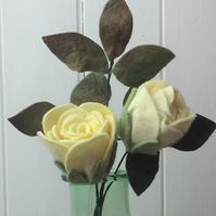 pair of felt flowers, lemon yellow roses, hand dyed, wool felt,