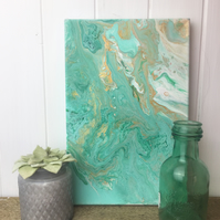 acrylic painting in green white and gold CLEARANCE
